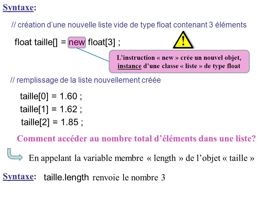 float taille[] = new float[3] ;